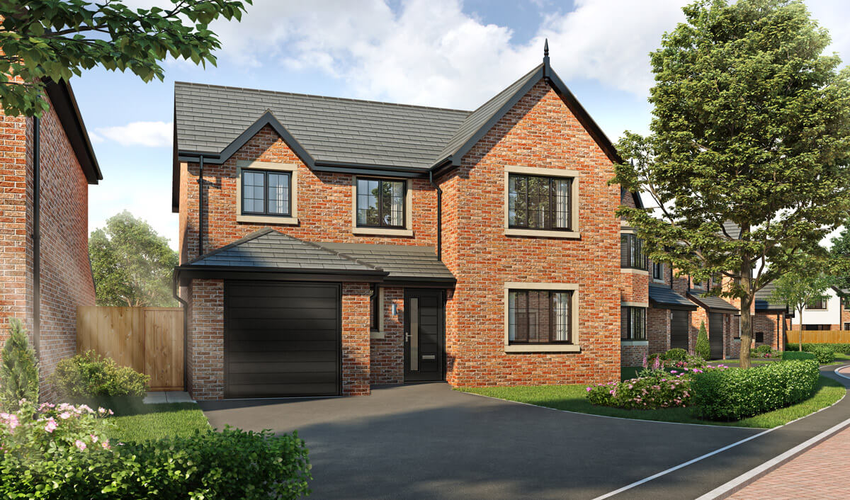 four bedroom detached house with integral single garage