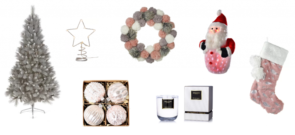 pink and grey christmas decor ideas